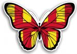 Beautiful Butterfly With Northumberland County Flag Vinyl Car Sticker 130x90mm